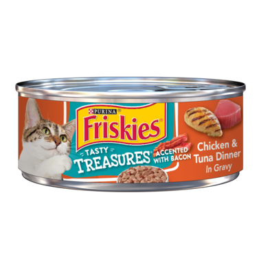 Friskies Tasty Treasures Chicken & Tuna Dinner In Gravy Accented With Bacon Wet Cat Food