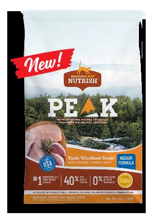 Nutrish PEAK Indoor Formula Rustic Woodlands Recipe With Chicken, Turkey & Duck Dry Cat Food