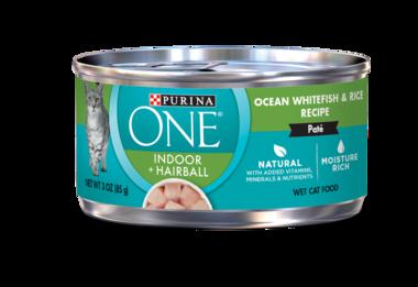 Purina ONE Indoor + Hairball Ocean Whitefish & Rice Recipe Paté Wet Cat Food
